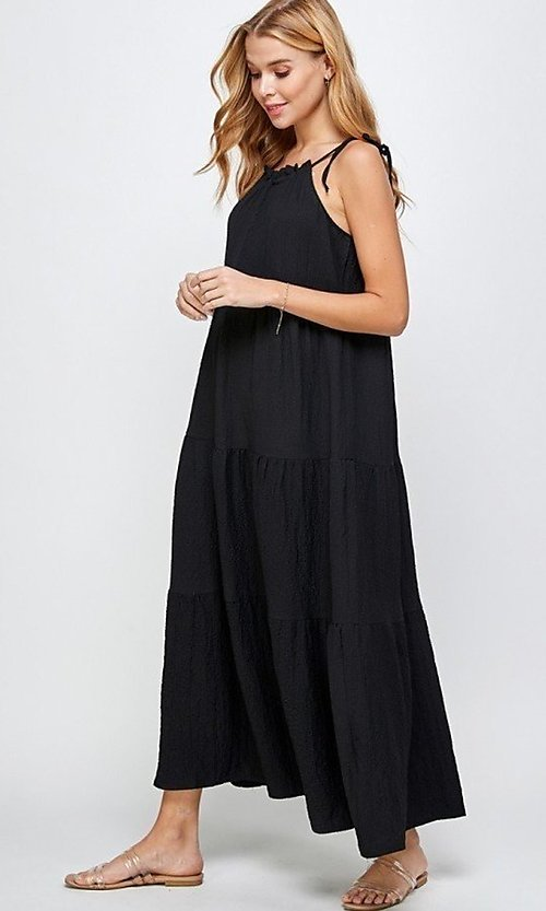 Image of shoulder-tie casual maxi dress with tiered skirt. Style: LAS-SOL-21-S-23733R Detail Image 2