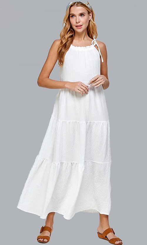 Image of shoulder-tie casual maxi dress with tiered skirt. Style: LAS-SOL-21-S-23733R Front Image