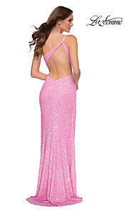 Image of neon pink one shoulder long sequin prom dress. Style: LF-21-29654 Back Image
