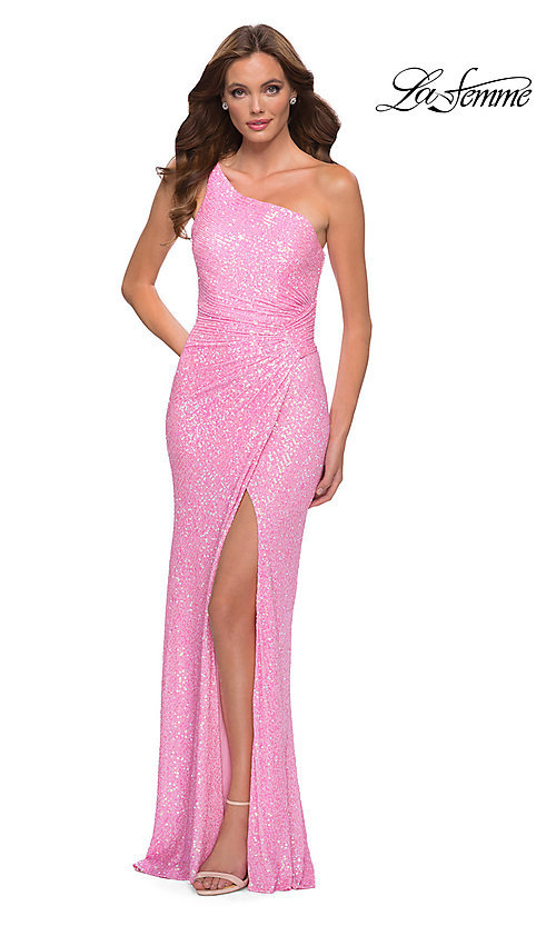 Image of neon pink one shoulder long sequin prom dress. Style: LF-21-29654 Front Image