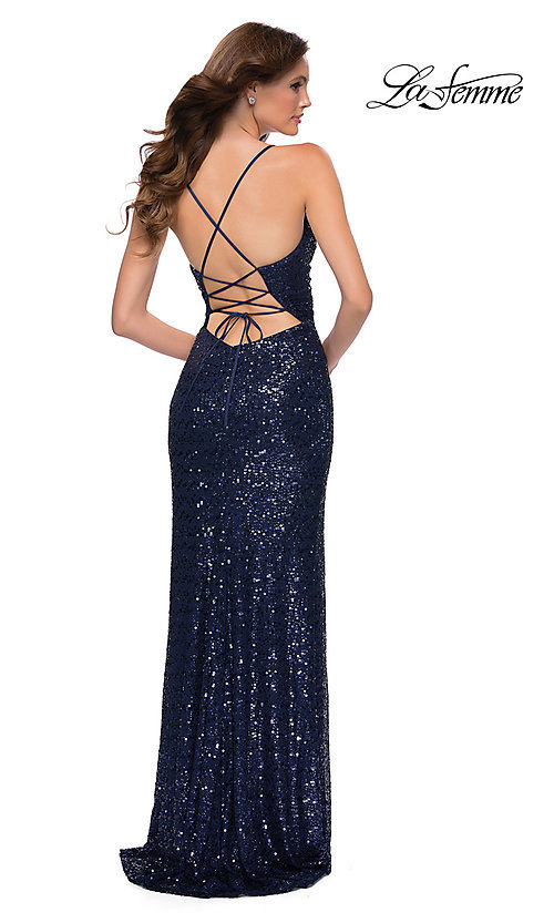 Image of La Femme long sequin formal prom dress with corset. Style: LF-21-29657 Back Image