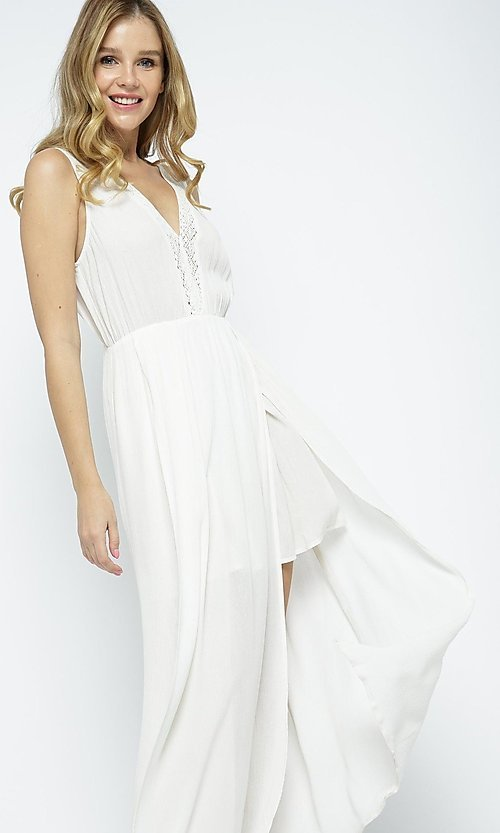 Image of ivory white casual maxi dress with front slits. Style: LAS-ILL-21-IM5773 Front Image