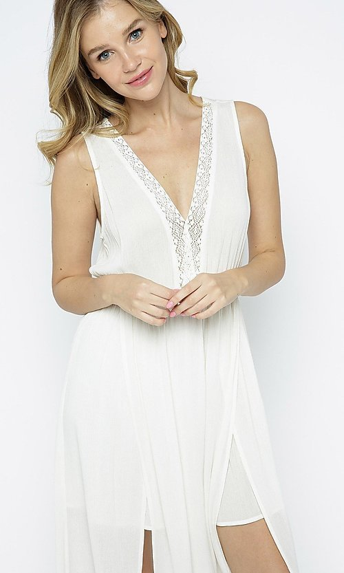Image of ivory white casual maxi dress with front slits. Style: LAS-ILL-21-IM5773 Detail Image 1