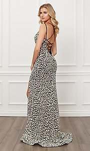 Image of long black & silver sequin sparkly prom dress. Style: NA-21-E479 Back Image