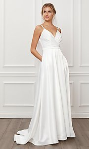 Image of long white satin a-line formal gown with train. Style: NA-21-E484 Front Image