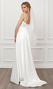 Image of long white satin a-line formal gown with train. Style: NA-21-E484 Back Image