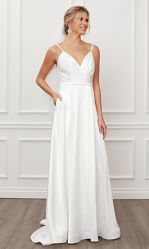 Image of long white satin a-line formal gown with train. Style: NA-21-E484 Detail Image 1