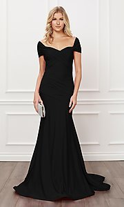 Image of long formal sweetheart off-the-shoulder prom dress. Style: NA-21-E497 Front Image