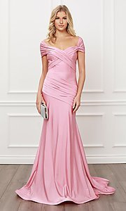 Image of long formal sweetheart off-the-shoulder prom dress. Style: NA-21-E497 Detail Image 5