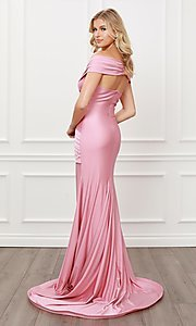 Image of long formal sweetheart off-the-shoulder prom dress. Style: NA-21-E497 Detail Image 6