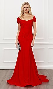 Image of long formal sweetheart off-the-shoulder prom dress. Style: NA-21-E497 Detail Image 3