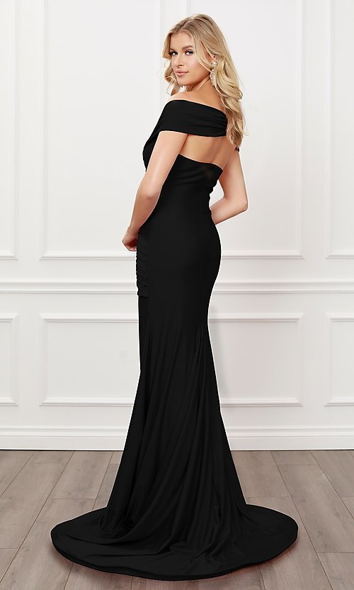 Image of long formal sweetheart off-the-shoulder prom dress. Style: NA-21-E497 Back Image