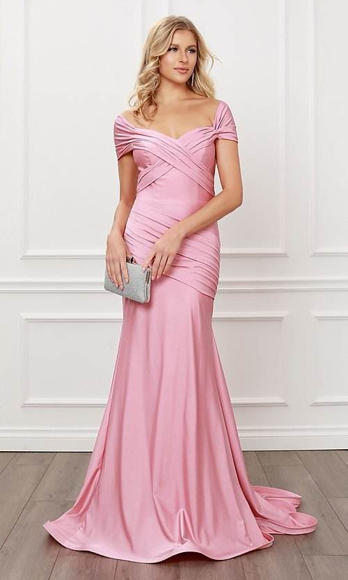Image of long formal sweetheart off-the-shoulder prom dress. Style: NA-21-E497 Detail Image 7