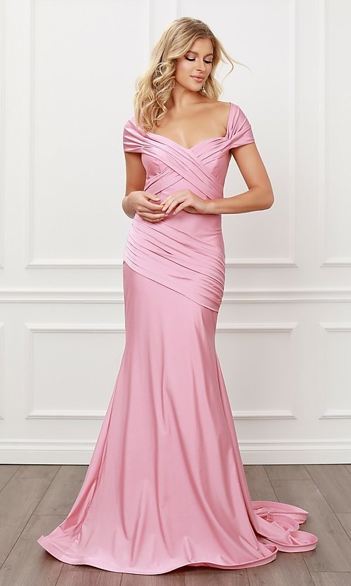Image of long formal sweetheart off-the-shoulder prom dress. Style: NA-21-E497 Detail Image 8