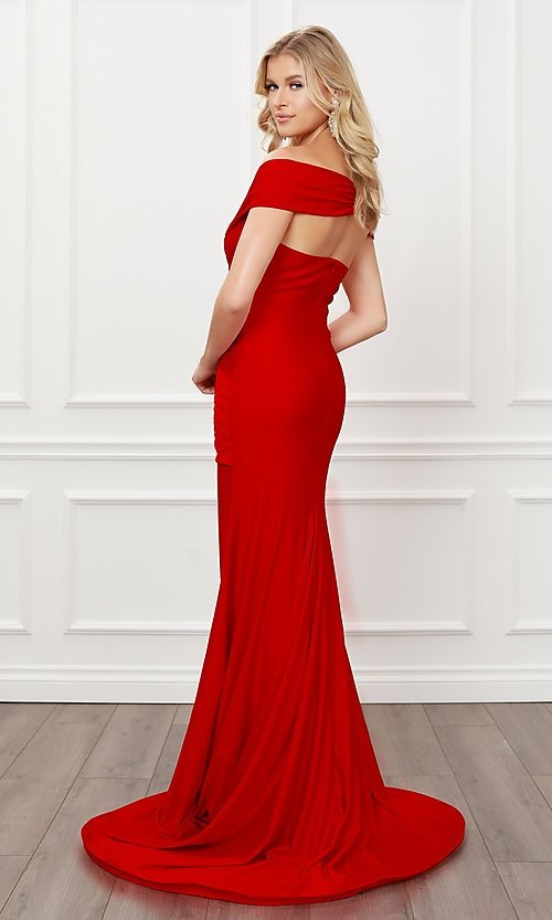 Image of long formal sweetheart off-the-shoulder prom dress. Style: NA-21-E497 Detail Image 4