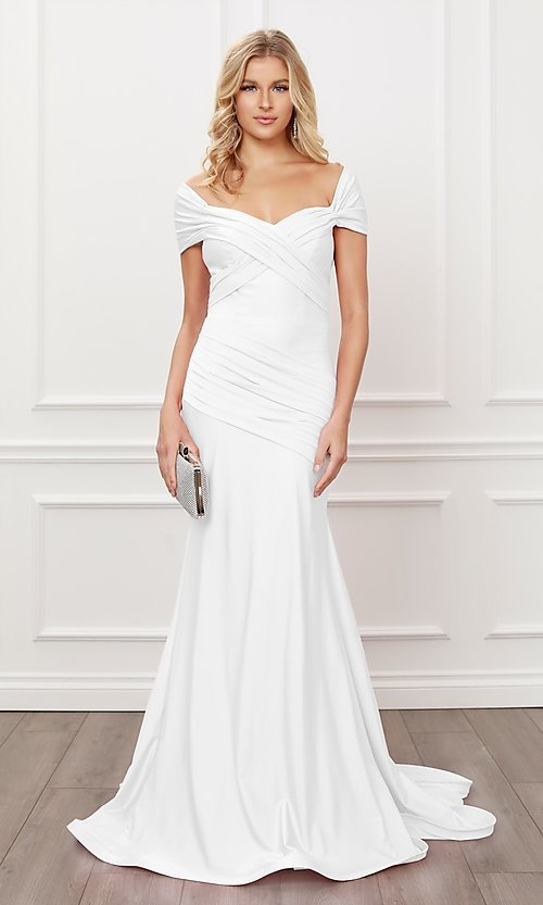 Image of long formal sweetheart off-the-shoulder prom dress. Style: NA-21-E497 Detail Image 1