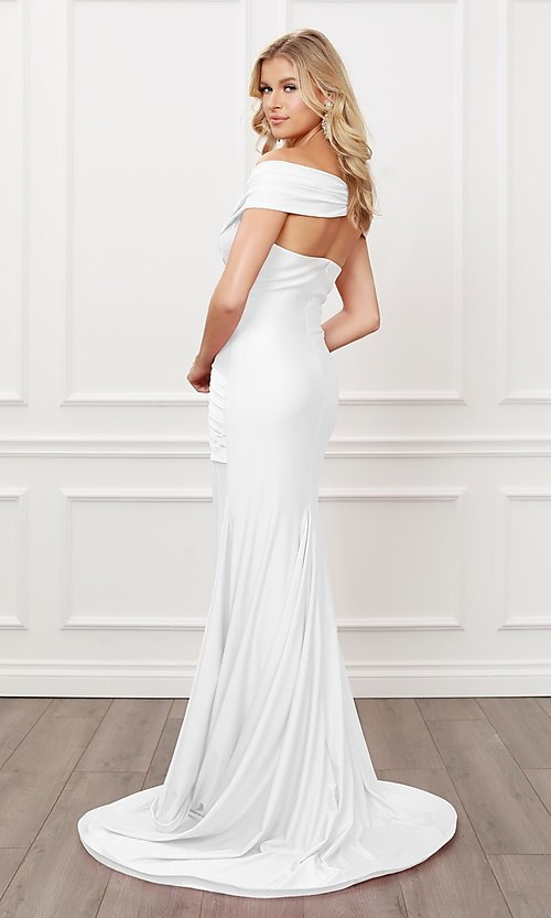 Image of long formal sweetheart off-the-shoulder prom dress. Style: NA-21-E497 Detail Image 2