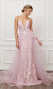 Image of blush pink long lace prom dress with tulle skirt. Style: NA-21-F485 Front Image