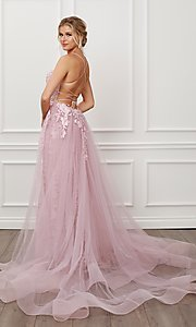 Image of blush pink long lace prom dress with tulle skirt. Style: NA-21-F485 Back Image