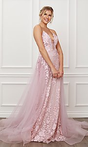 Image of blush pink long lace prom dress with tulle skirt. Style: NA-21-F485 Detail Image 1