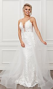 Image of long white formal prom dress with tulle overskirt. Style: NA-21-F485W Front Image