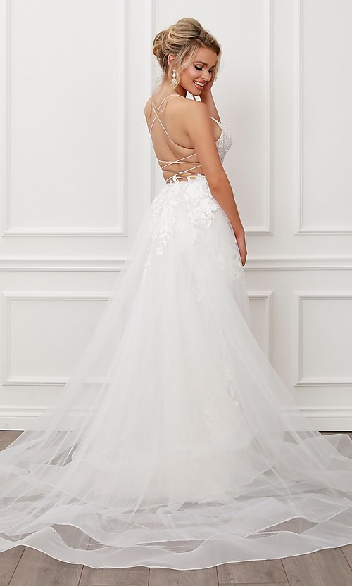 Image of long white formal prom dress with tulle overskirt. Style: NA-21-F485W Back Image