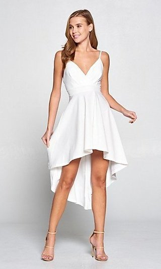 V-Neck A-Line High-Low White Short Party Dress