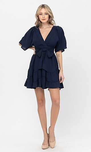 Short A-Line Waist-Tie Casual Ruffle Dress