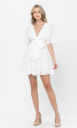 Short Casual Ruffle Party Dress with Waist Tie