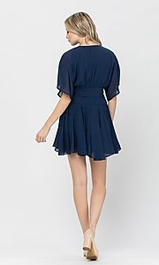 Image of side-tie short party dress with short sleeves. Style: LAS-TCC-21-LD3979 Back Image