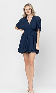 Image of side-tie short party dress with short sleeves. Style: LAS-TCC-21-LD3979 Detail Image 6