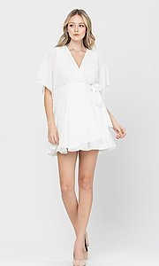 Image of side-tie short party dress with short sleeves. Style: LAS-TCC-21-LD3979 Detail Image 2