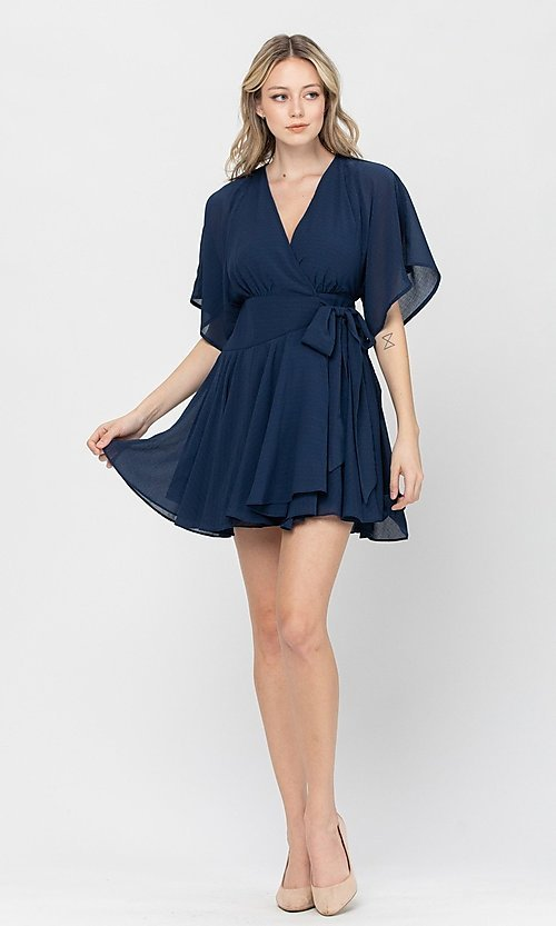 Image of side-tie short party dress with short sleeves. Style: LAS-TCC-21-LD3979 Detail Image 1