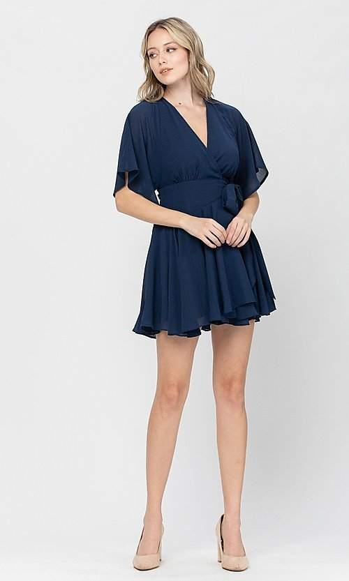 Image of side-tie short party dress with short sleeves. Style: LAS-TCC-21-LD3979 Detail Image 7