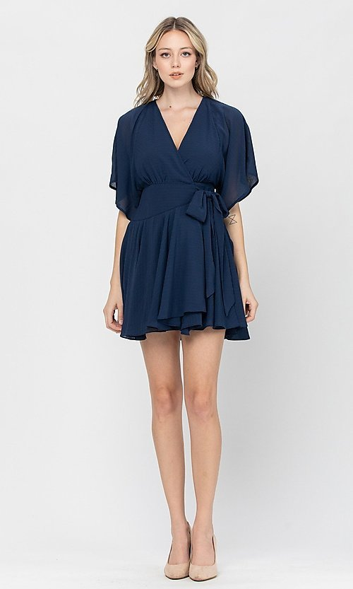 Image of side-tie short party dress with short sleeves. Style: LAS-TCC-21-LD3979 Detail Image 3