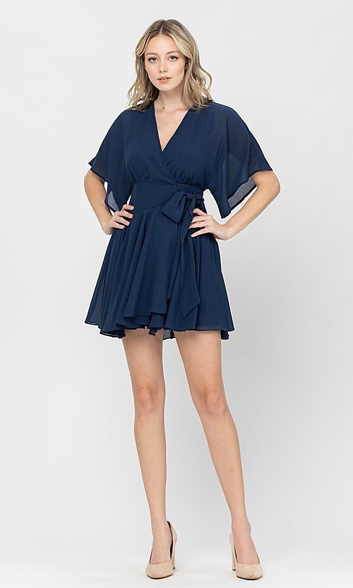 Image of side-tie short party dress with short sleeves. Style: LAS-TCC-21-LD3979 Detail Image 4