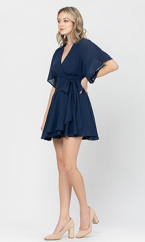Image of side-tie short party dress with short sleeves. Style: LAS-TCC-21-LD3979 Detail Image 5
