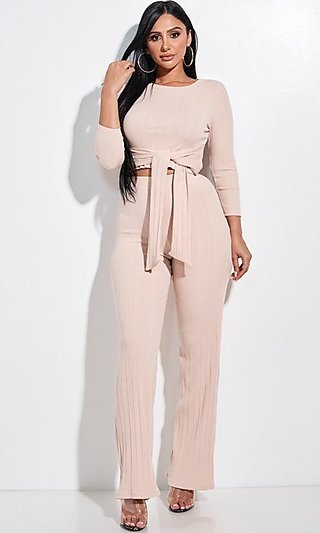 Ribbed Knit Light Pink Two Piece Matching Set