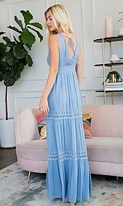 Image of empire waist long casual maxi party dress. Style: LAS-SWE-21-SD123 Back Image