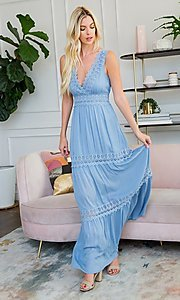 Image of empire waist long casual maxi party dress. Style: LAS-SWE-21-SD123 Detail Image 1
