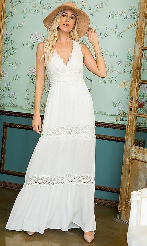 Image of empire waist long casual maxi party dress. Style: LAS-SWE-21-SD123 Front Image