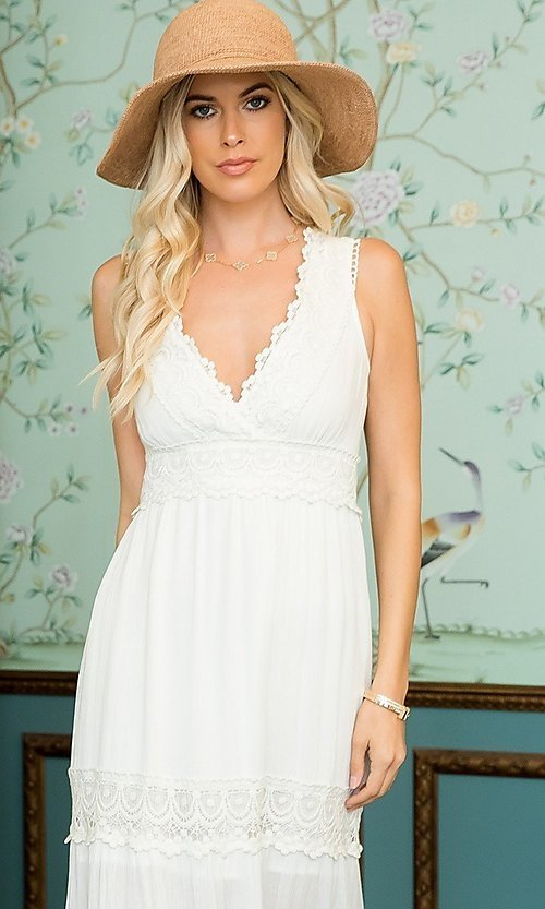 Image of empire waist long casual maxi party dress. Style: LAS-SWE-21-SD123 Detail Image 2