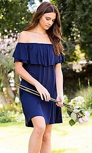Image of navy blue off-shoulder ruffle short casual dress. Style: LAS-SWE-21-SD5130-3 Front Image
