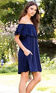 Image of navy blue off-shoulder ruffle short casual dress. Style: LAS-SWE-21-SD5130-3 Detail Image 1