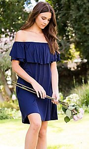 Image of navy blue off-shoulder ruffle short casual dress. Style: LAS-SWE-21-SD5130-3 Detail Image 2