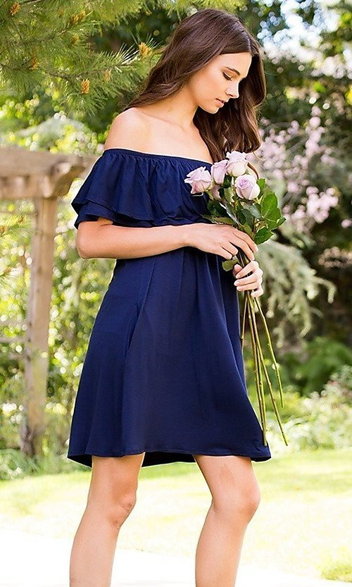 Image of navy blue off-shoulder ruffle short casual dress. Style: LAS-SWE-21-SD5130-3 Detail Image 3
