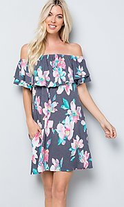 Image of floral print short casual dress with ruffle. Style: LAS-SWE-21-SD5130FL Detail Image 1