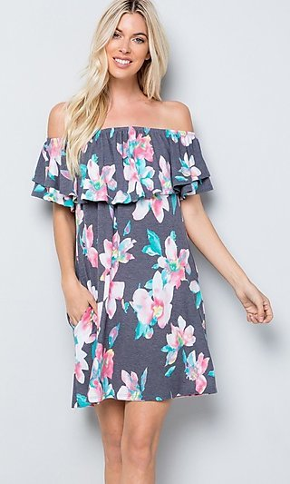 Floral Print Double-Ruffle Popover Short Casual Dress