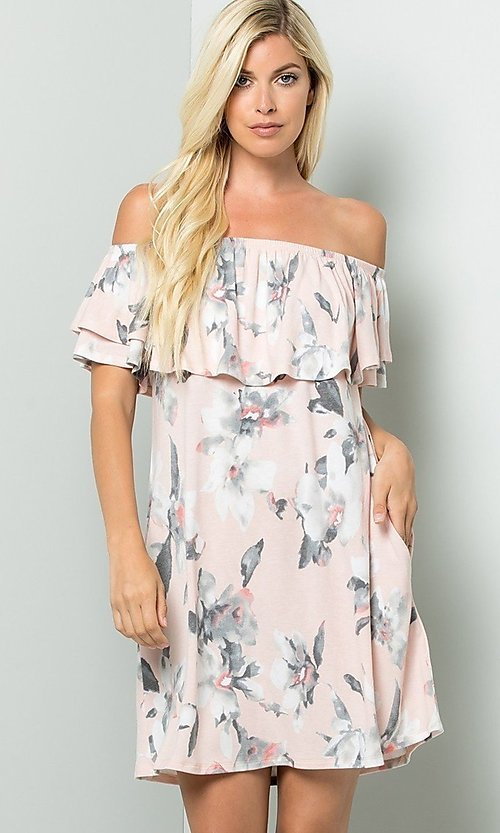 Image of floral print short casual dress with ruffle. Style: LAS-SWE-21-SD5130FL Detail Image 3