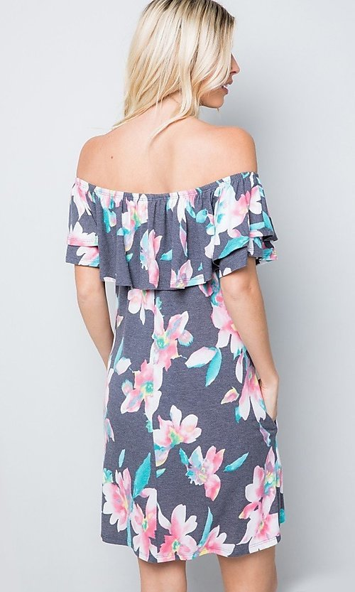 Image of floral print short casual dress with ruffle. Style: LAS-SWE-21-SD5130FL Back Image